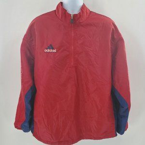 Adidas Soccer Red / Navy Blue Jacket LARGE